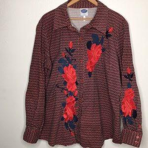 DianeGilman Floral Embroidered Button-up Sz1X